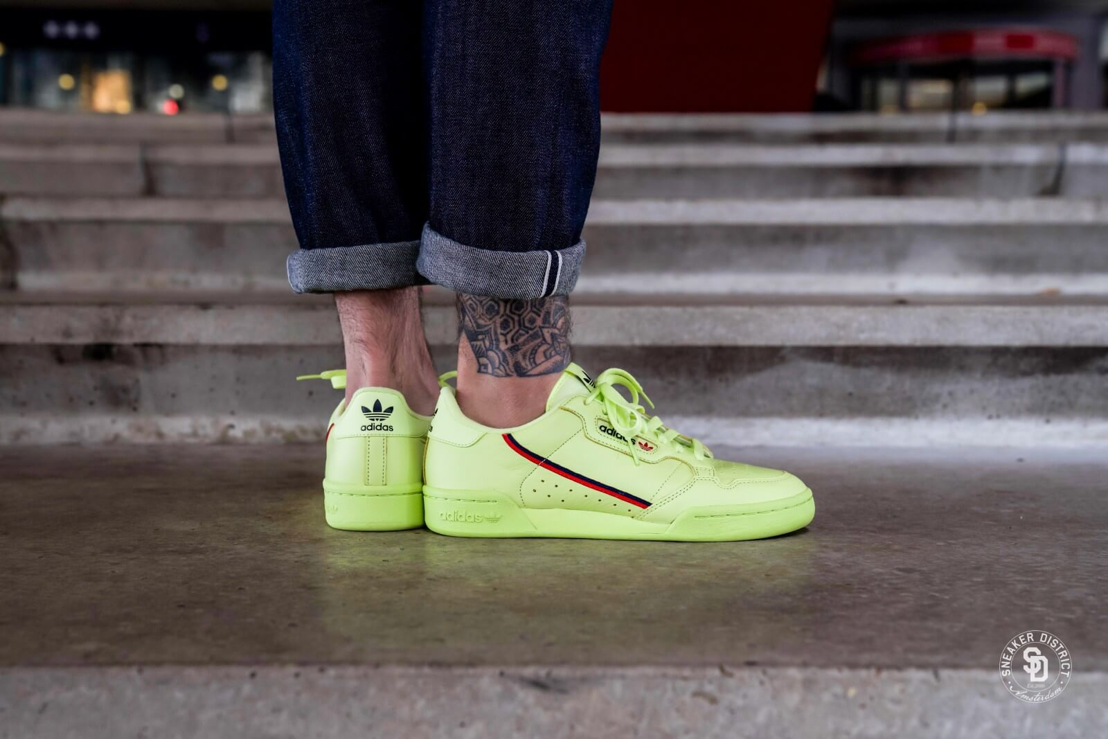 Adidas Continental 80 Semi Frozen Yellow/Scarlet - B41675