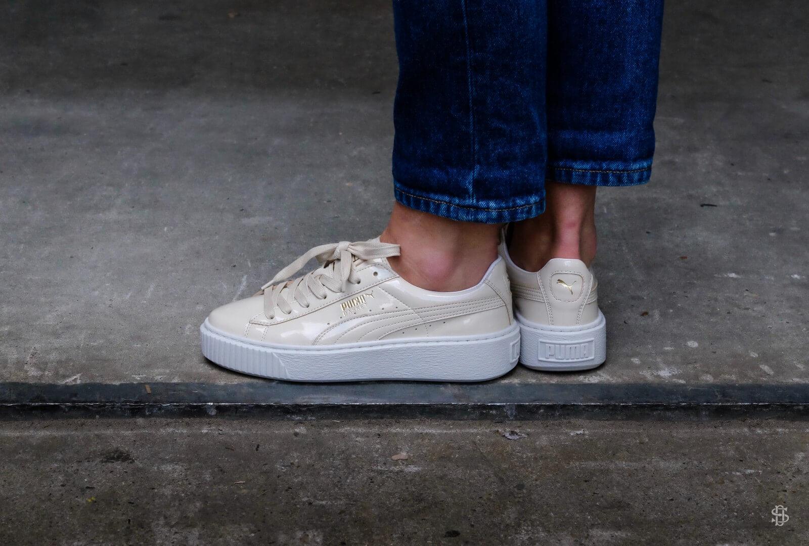 puma basket platform patent sneaker white