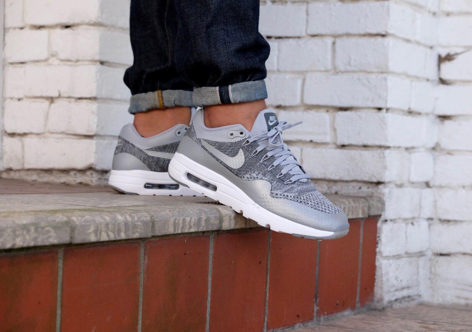 Nike Air Max 1 Ultra Flyknit Wolf Grey Dark Grey White 843384 001