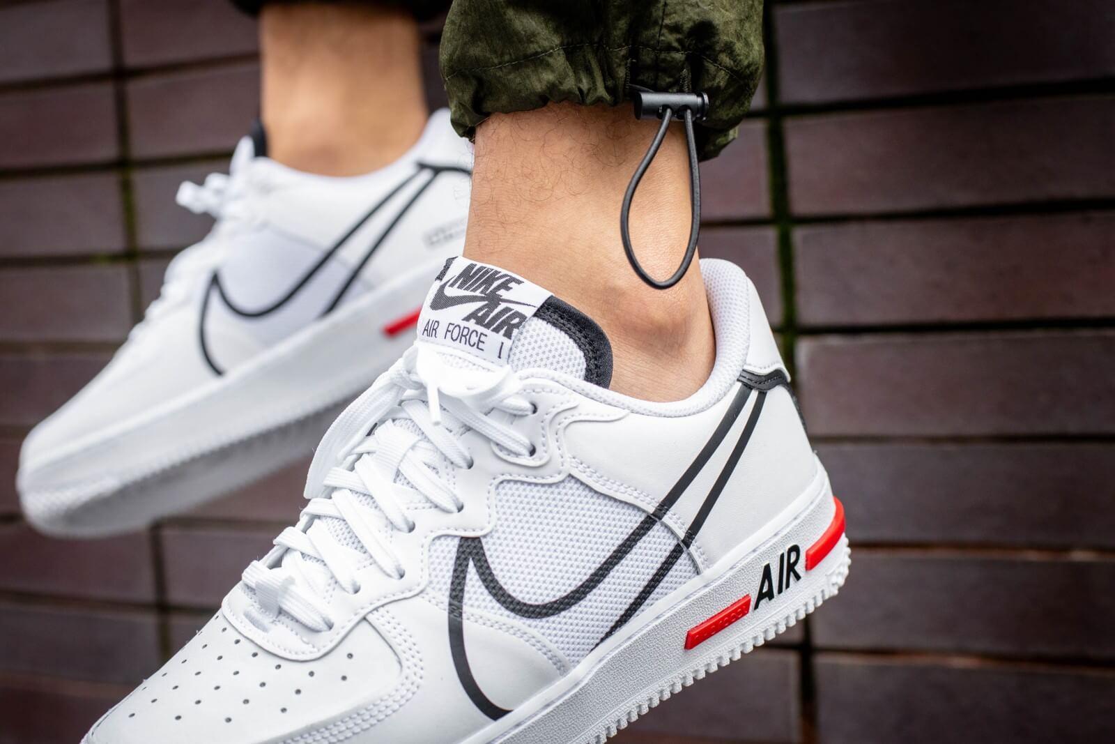 Nike Air Force 1 React WhiteBlack University Red CD4366 100