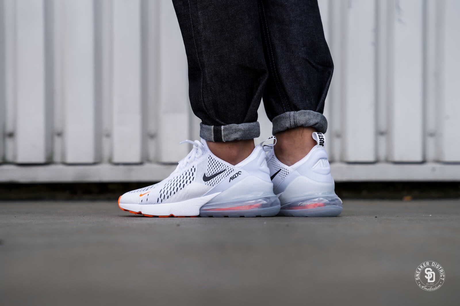 air max 270 (gs) white/safety orange/black/total orange