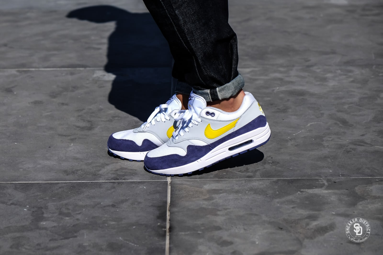 Nike Air Max 1 White/Tour Yellow-Blue Recall