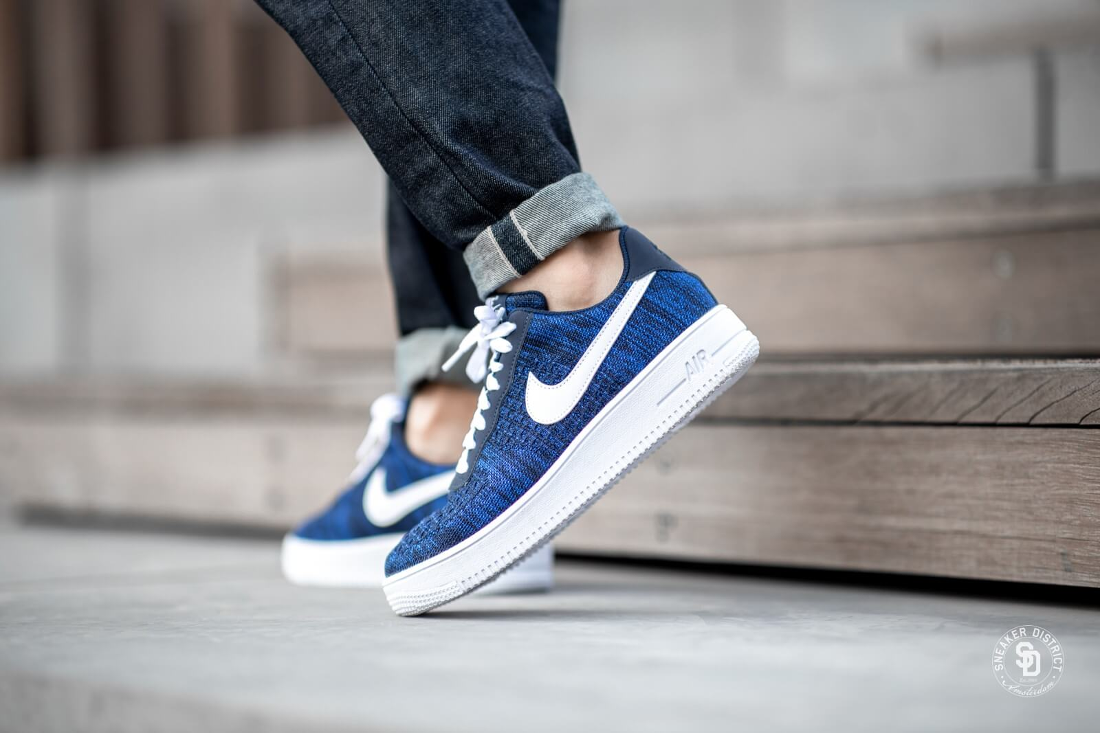 Nike Air Force 1 Flyknit 2.0 College NavyWhite Obsidian AV3042 400