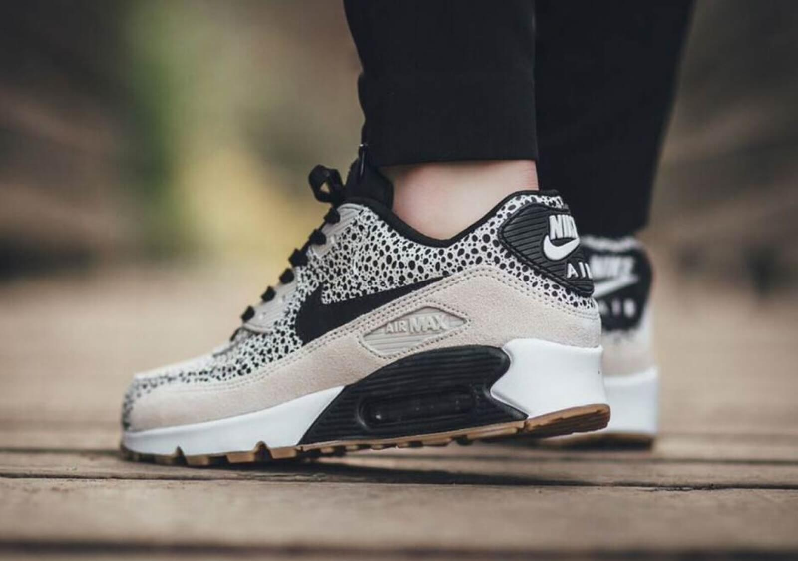 Nike Wmns Air Max 90 PRM White Black-Gum Light Brown - 443817-102 29b443732611