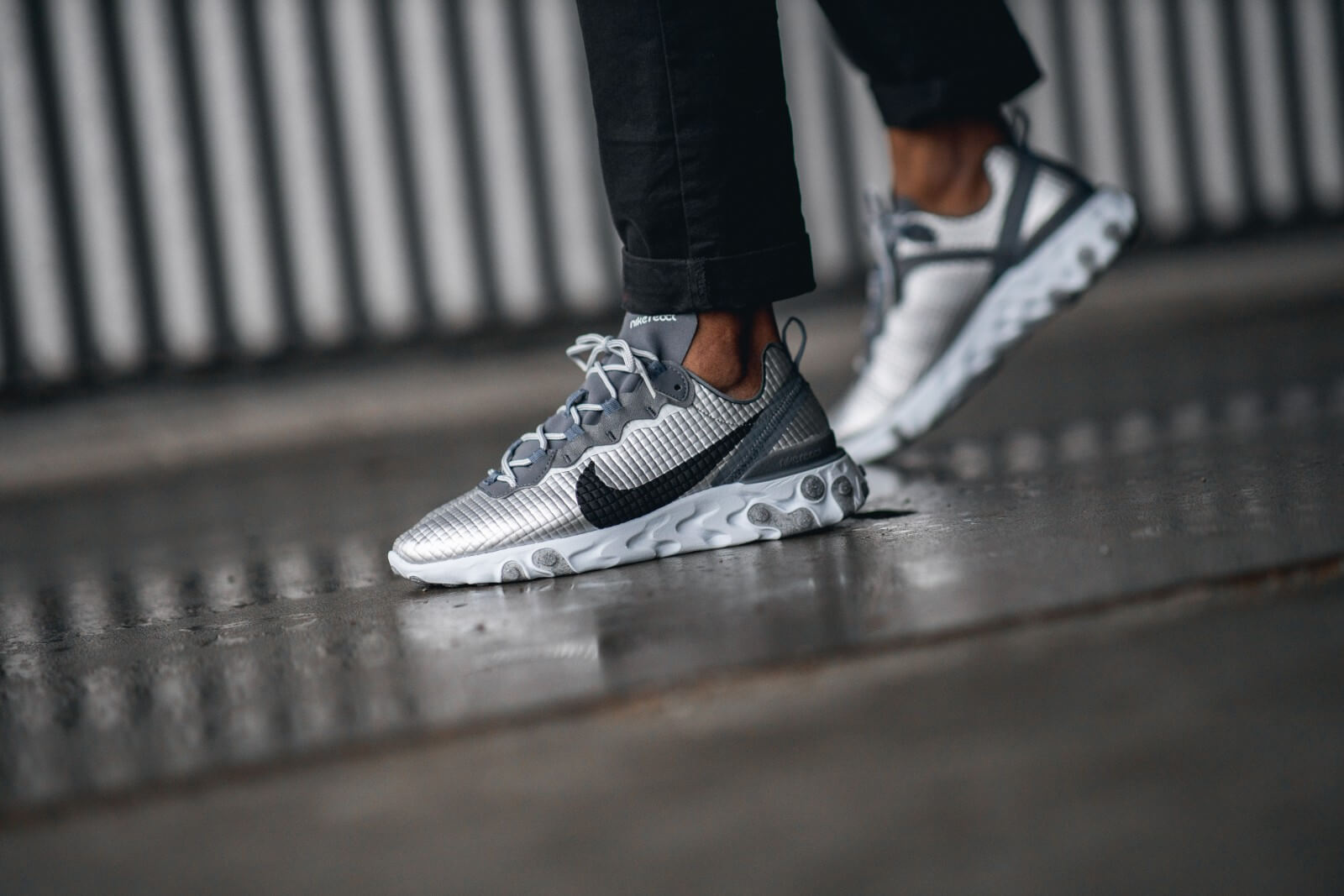 Nike React Element 55 Premium Metallic SilverBlack CI3835 001