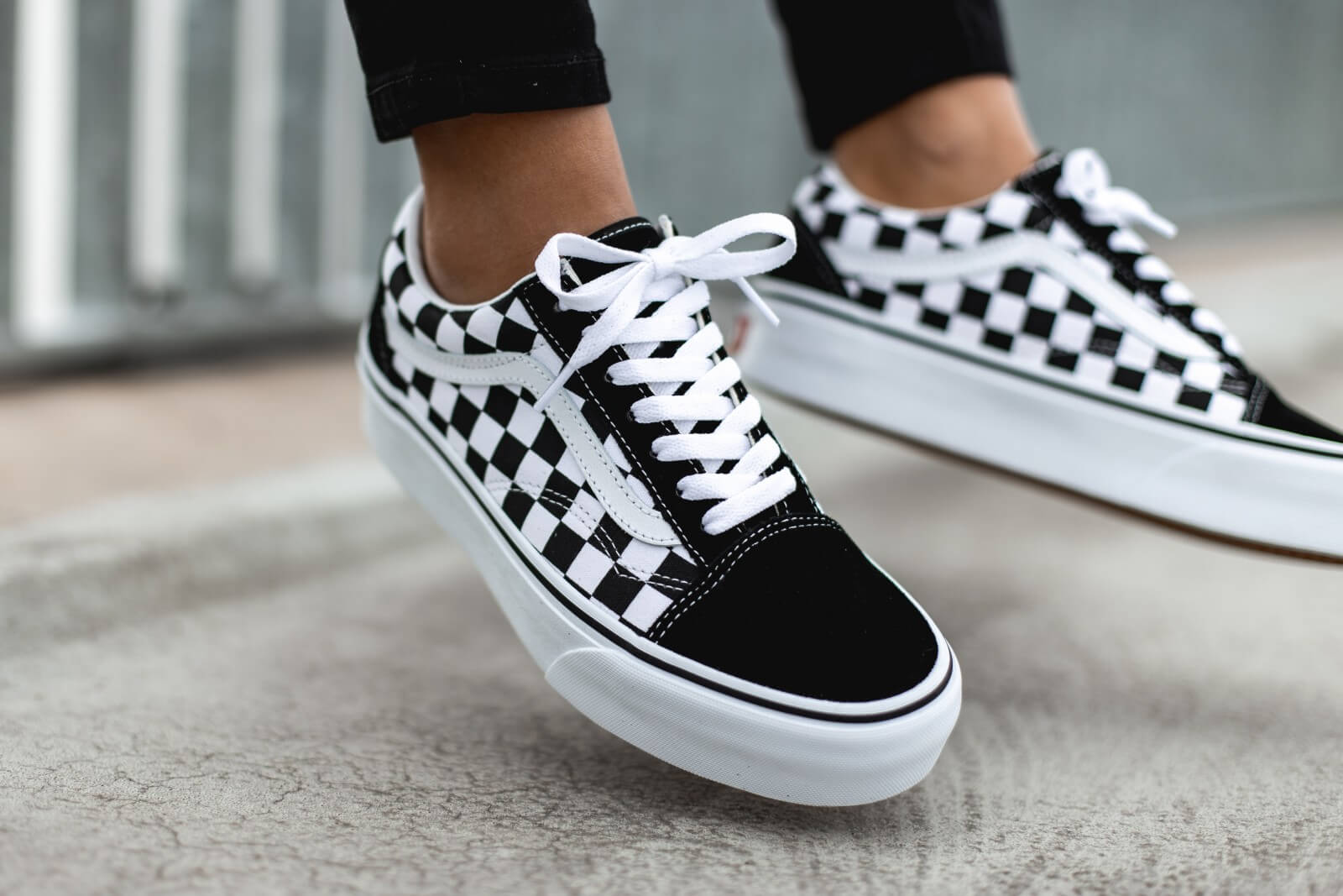 Vans Women's Old Skool Platform CheckerboardBlackTrue